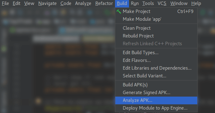 Screenshot of Android Studio showing Analyze APK in dropdown under