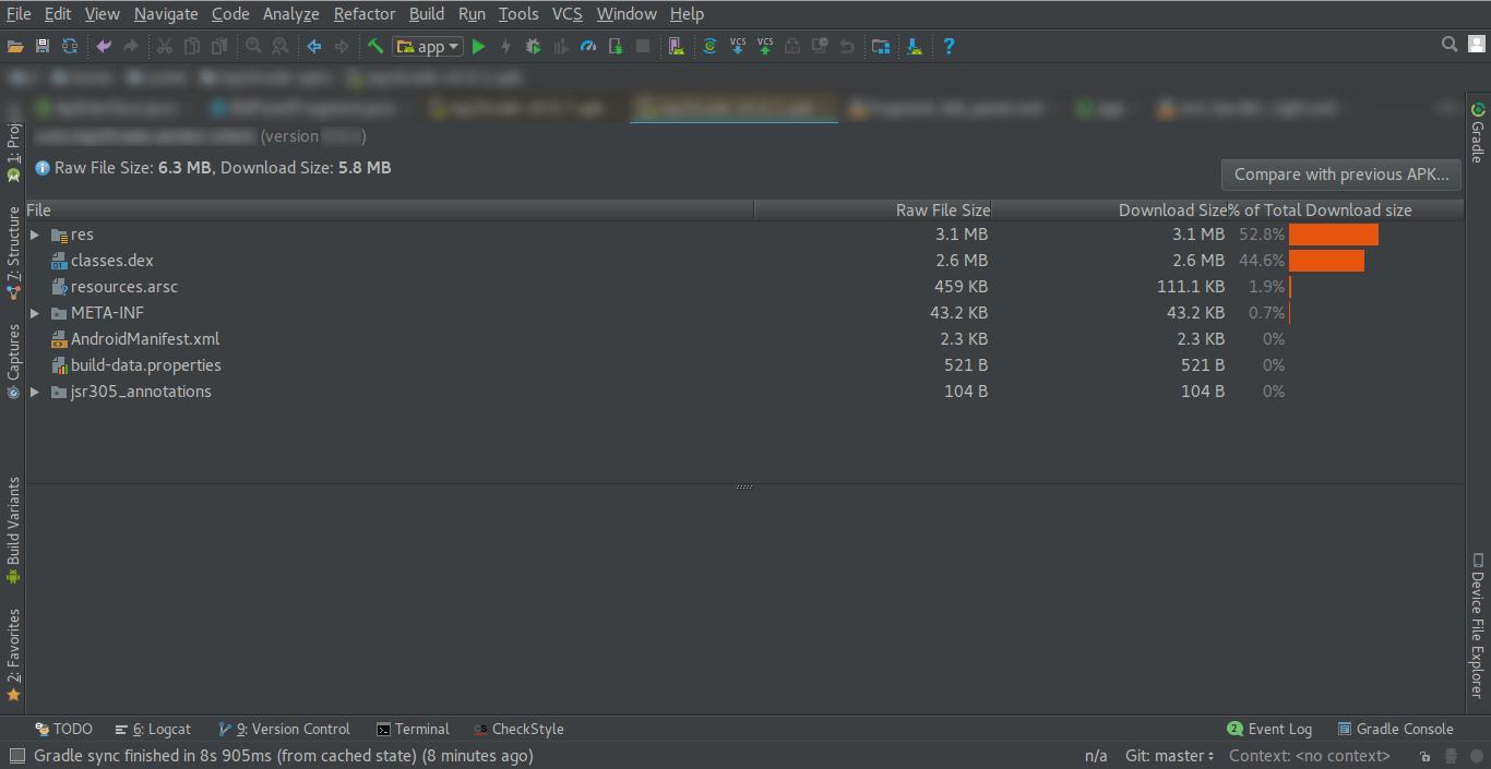 Analyze APK window